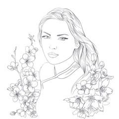Young pretty woman portrait. Sakura flowers blossom. Romantic lady girl