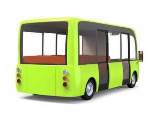 modern cartoon bus green back