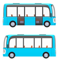 modern cartoon bus blue side