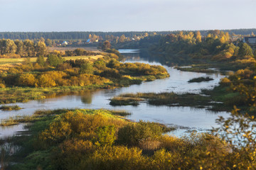 River Nerl on the background of the autumn countryside, Russia