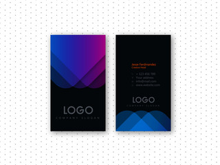Modern color shade curve shape vertical business card