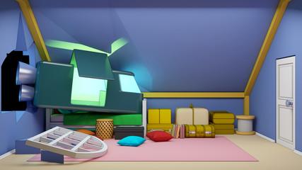 cartoon attic with spaceship