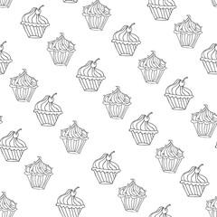 Lovely cupcake dessert seamless background vector design