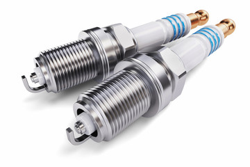 Two spark plugs on a white background