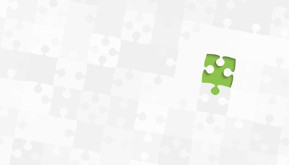 One Green Piece Grey Puzzles - Vector Jigsaw