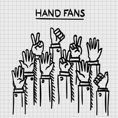 Sketch fans hands up art Vector illustration