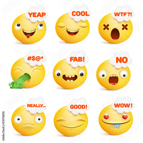 Set Of Yellow Smiley Face Emoticon Characters In Various Emotions