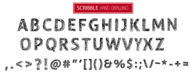 hand drawn scribble alphabet isolated on white - SET5