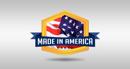 Made in America USA seal on white background