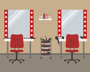Interior of a hairdressing salon. Beauty salon. There are tables, red chairs, mirrors, hair dryer, combs and other objects in the picture. Vector illustration.