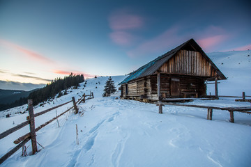 Shelter in winter Carpathian mountains