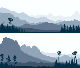 Horizontal banners of wild coniferous wood with glade and mountains.
