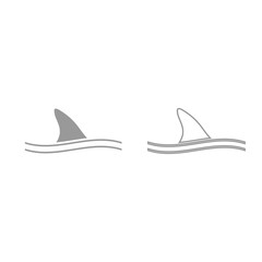 Fin of shark grey set icon .