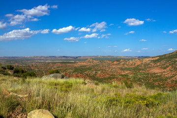 View of scenic red-rock canyon country in the Texas Panhandle from a turnout on Hwy 207, known as Hamblen Drive