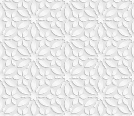 Seamless 3D white pattern, floral pattern, indian ornament, persian motif,  vector. Endless texture can be used for wallpaper, pattern fills, web page  background,  surface textures.