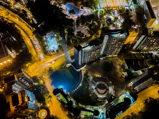 Fotomurales - Aerial view of city at night
