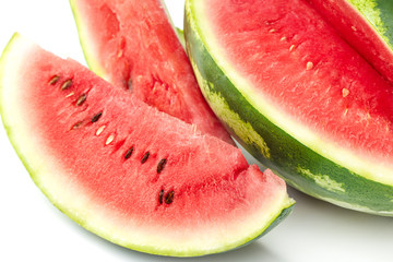 Sliced ripe watermelon on white background. Closeup of watermelon