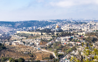 View of the walls of the old city of Jerusalem, the Temple Mount and Al-Aqsa Mosque from Mt. Scopus in Jerusalem, Israel