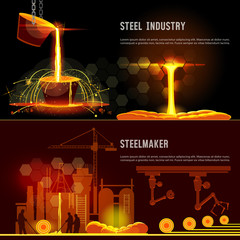Steel industry banner. Hot steel pouring in steel plant. Smelting of metal in big foundry. Iron and factory workshop. Steel worker. Metallurgy process