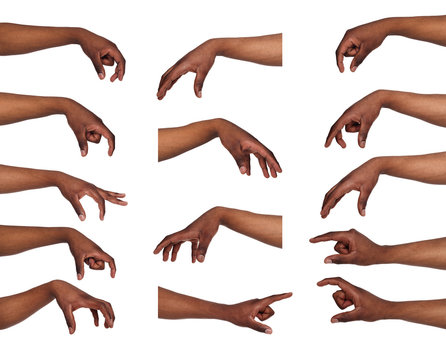 Set of black man's hands. Male hand picking up something