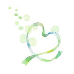 ハートリボン、グリーン、水玉