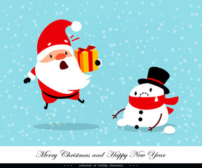 Santa Claus and Snowman. Emotional Christmas and New Year's characters. Weather, global warming, thaw, abnormal temperature. Humorous xmas collection. Vector