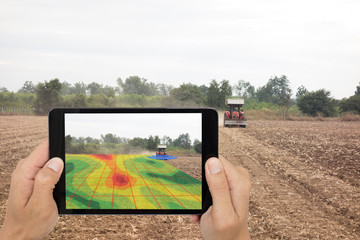 Wall Mural - smart agriculture concept, farmer use tablet read infrared in tractor with high definition soil mapping while planting,conduct deep soil scan during a tillage pass include organic, ec,om,Nitrogen,seed