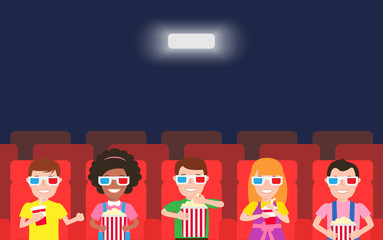 happy children watching  movie in cinema theater with 3d glasses