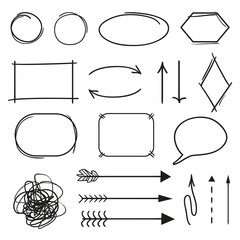 Infographic elements. Hand drawn simple element. Highlighters for design.  Line art. Abstract circles, arrows and rectangle frames