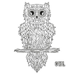 Owl. Zen art. Detailed hand drawn vintage owl with abstract patterns on isolation background. Design for spiritual relaxation for adults. Black and white illustration for coloring. Design Zentangle