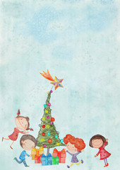 Christmas background with children.Watercolor on canvas. Bacground
