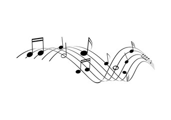 Musical notes line. Curling staff illustration on white background