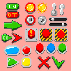 Pixel art arrows, buttons, pilot lights, pointers, game elements, navigation icons, notification lights. 8-bit styled vector illustration set for retro, web, computer, gaming, nerd themed designs.