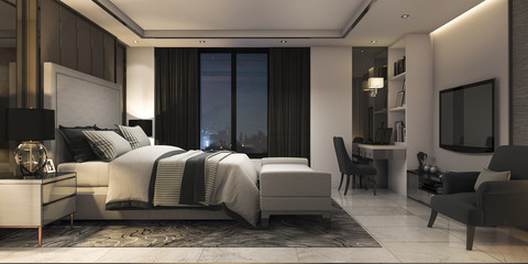 3d rendering modern luxury bedroom suite in hotel with decor