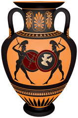 Amphora with the Ancient Greece warrior's battle scene, black-figure vase painting Hoplite single combat vector illustration, ceramic pottery for the vine and olive oil