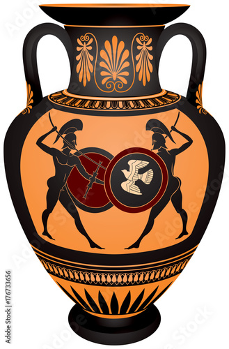 Amphora With The Ancient Greece Warriors Battle Scene Black Figure