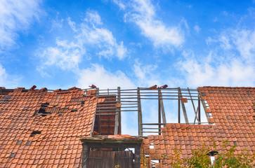 Sturmschaden abgedecktes Dach