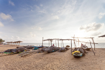 Fishing boats; Marawila Beach, Sri Lanka