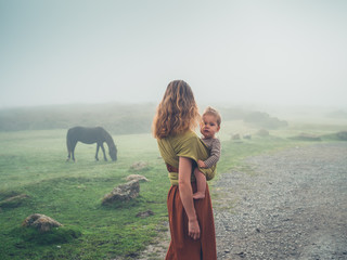 Mother with baby in sling looking at horse in fog