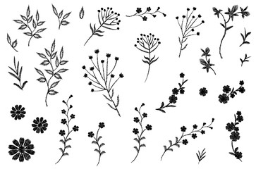 Embroidery flower field herb collection. Fashion print patch design floral DIY set. Stitched texture daisy leaves branches vector illustration