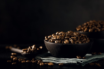 Closeup of coffee beans in bowl