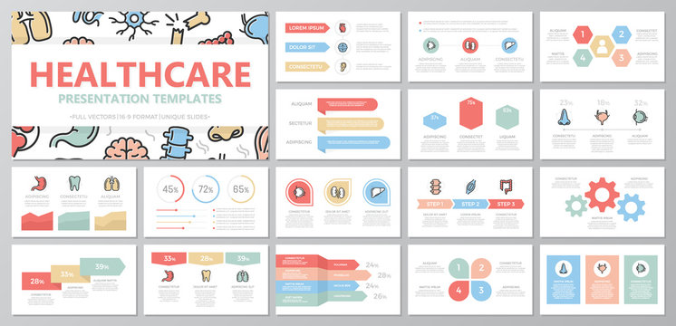 Set of medical and healthcare elements for multipurpose presentation template slides with graphs and charts. Leaflet, corporate report, marketing, advertising, annual report, book cover design.