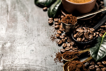 Roasted whole and grained coffee