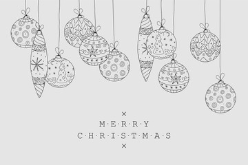 Christmas holiday card background. Collection of xmas decoration in doodle style. Hand drawn balls design