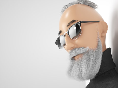 Old Hipster guy with beard stylized cartoon 3d character. 3d rendering
