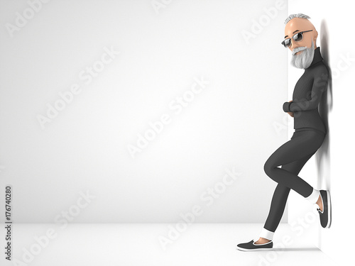 old hipster guy with beard stylized cartoon 3d character 3d