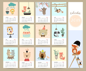 Colorful cute monthly calendar 2018 with fox,bear,cactus,flower,monkey,cake,skunk and tiger.Can be used for web,banner,poster,label and printable