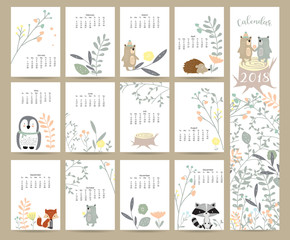 Colorful Cute Monthly Calendar 2018 With Fox Bear Cactus And