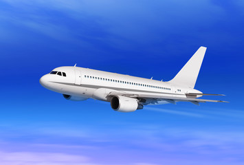 Wall Mural - passenger plane in blue sky