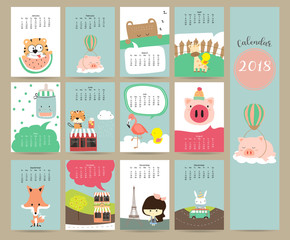 Colorful cute monthly calendar 2018 with fox,bear,tiger,pig,flamingo,duck,girl and giraffe.Can be used for web,banner,poster,label and printable